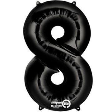 Picture of BLACK NUMBER 8 FOIL BALLOON 34 INCH