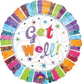 Picture of GET WELL RADIANT FOIL BALLOON 18INCH