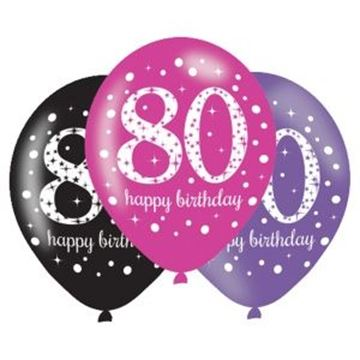 Picture of PINK PURPLE & BLACK 80TH BIRTHDAY LATEX 11INCH - 6PK