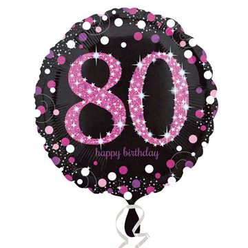 Picture of 80 BIRTHDAY BLK/PNK FOIL BALLOON 18IN