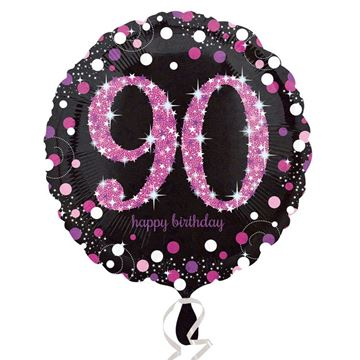 Picture of 90 BIRTHDAY BLK/PNK FOIL BALLOON 18IN