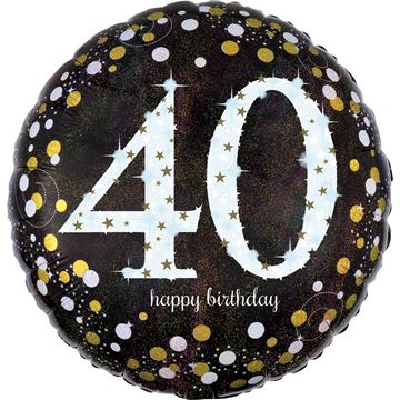 Picture of 40TH GOLD CELEBRATION FOIL BALLOON 18INCH - 45CM
