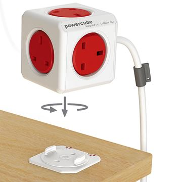 Picture of POWERCUBE EXTENDED UK 5 WAY SOCKET 1.5M RED